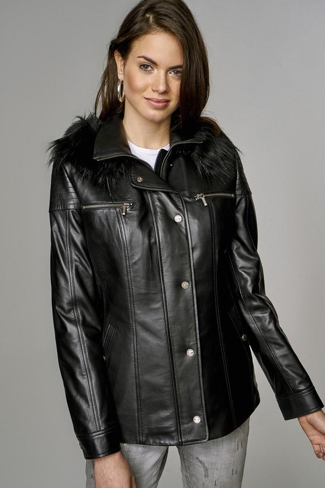 Siyah Veronica Kadın Deri Ceket 5637459052