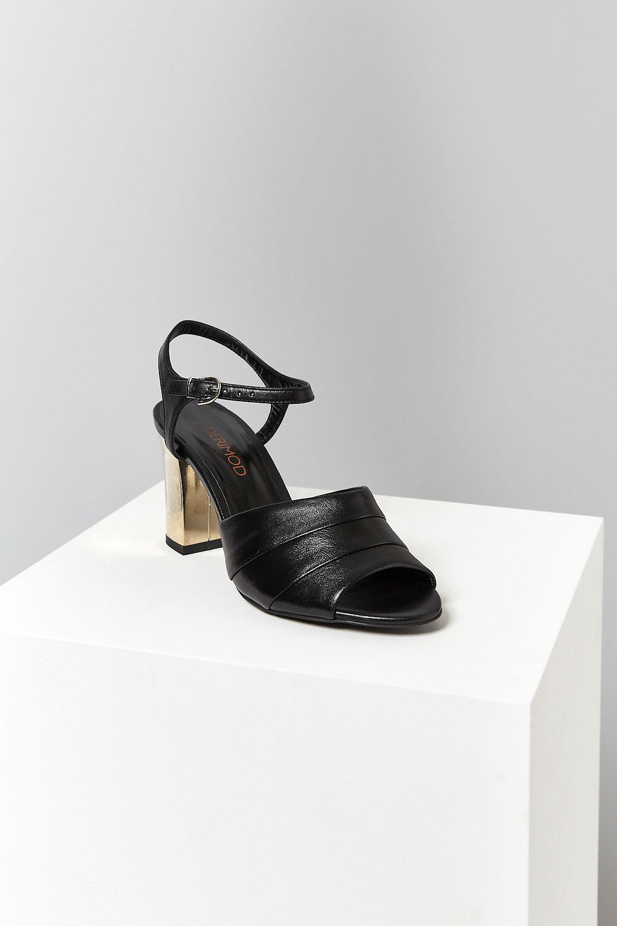 Siyah Bİlekten BaĞlamali Kadin Derİ Topuklu Sandalet