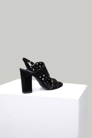 Süet Kadın Topuklu Deri Sandalet