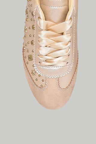 Zımba Detaylı Gold Kadın Spor Ayakkabı