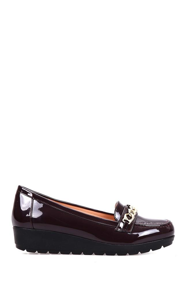 Bordo Kadın Zincir Detaylı Dolgu Topuklu Ayakkabı 5637891736