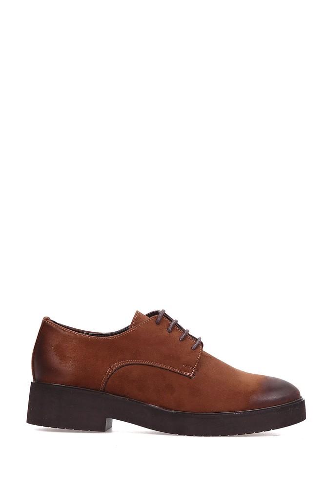Kahverengi Kadın Bağcıklı Süet Ayakkabı 5637891713