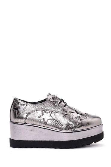 5637936036 Kadın Yüksek Tabanlı Gümüş Sneaker