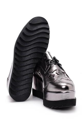 Kadın Yüksek Tabanlı Gümüş Sneaker