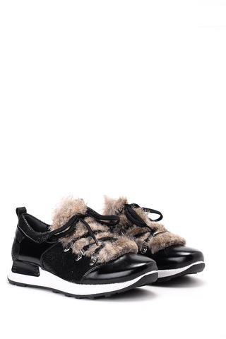 Kadın Kürk Detaylı Deri Sneaker