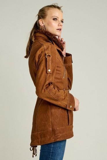 Kahverengi Shakira Kadın Deri Ceket 5637991365