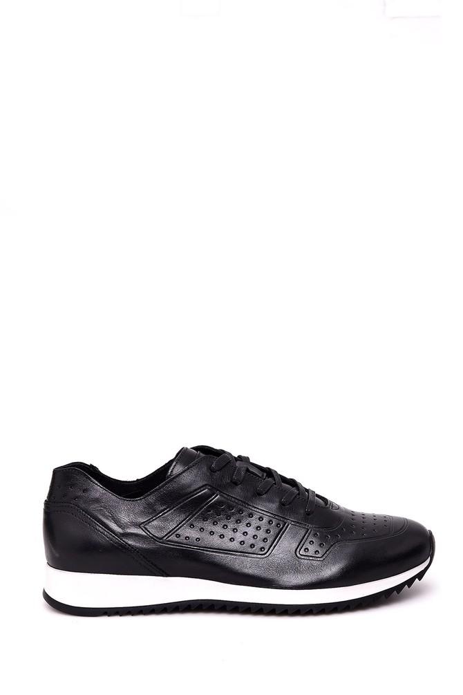 Siyah Erkek Tabanlı Deri Sneaker 5638018716