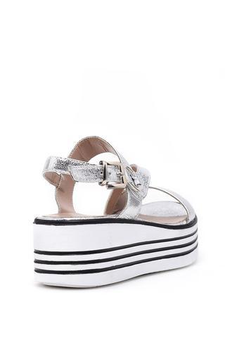 Kadın Gümüş Dolgu Topuklu Sandalet