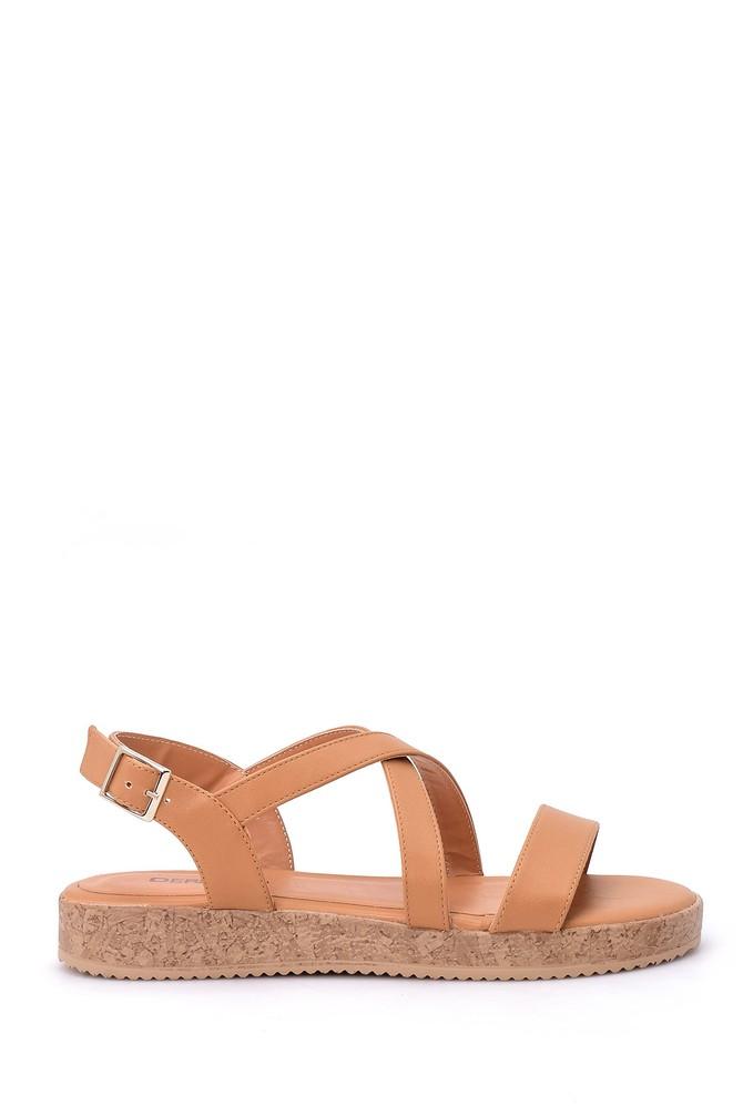 Kahverengi Kadın Mantar Tabanlı Sandalet 5638017577