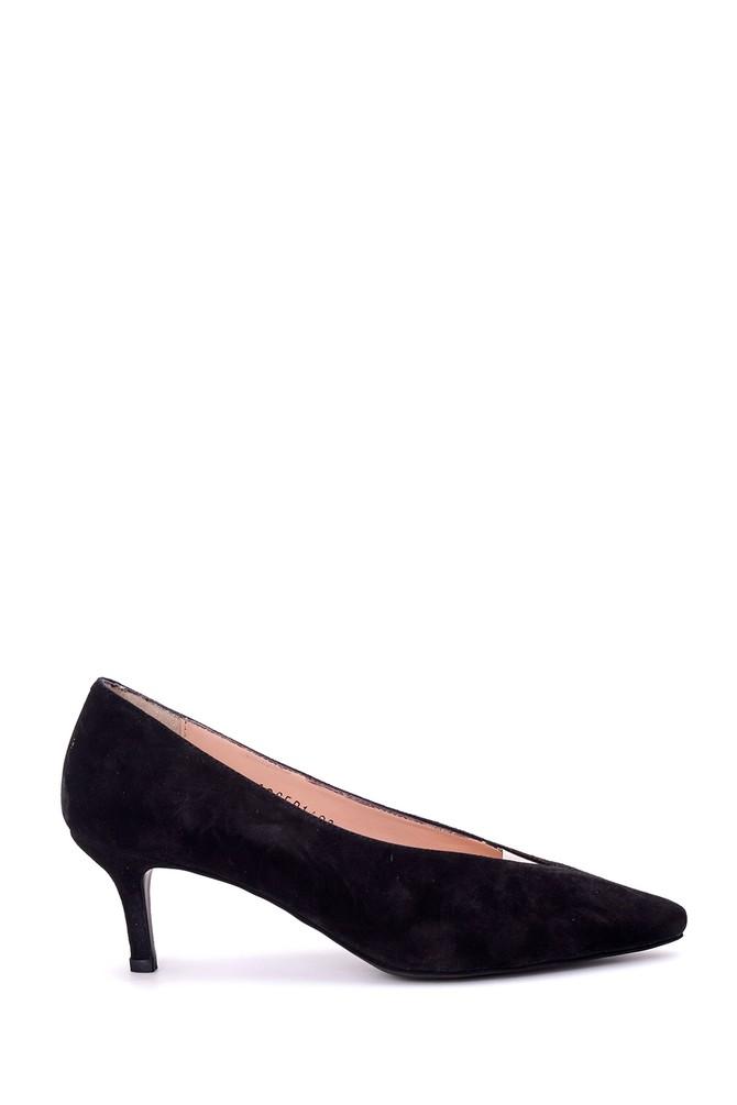 Siyah Kadın Süet Deri Topuklu Ayakkabı 5638039096