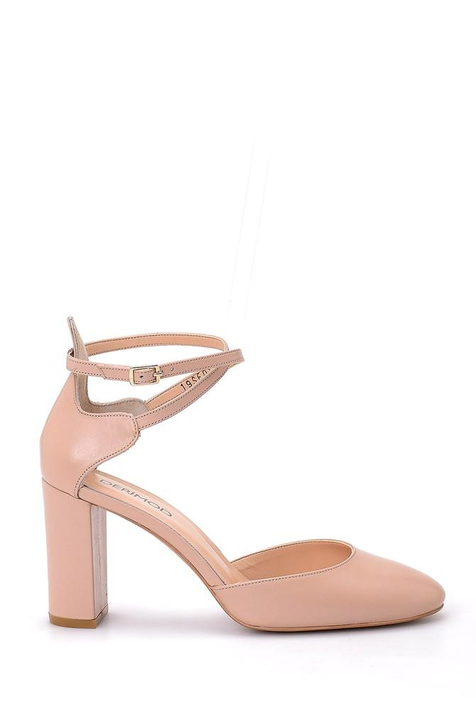 Bej Kadın Bilekten Bağlamalı Topuklu Ayakkabı 5638033685