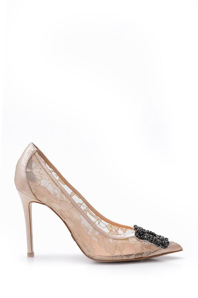 Bej Kadın Taş Detaylı Dantel Deri Stiletto 5638051394