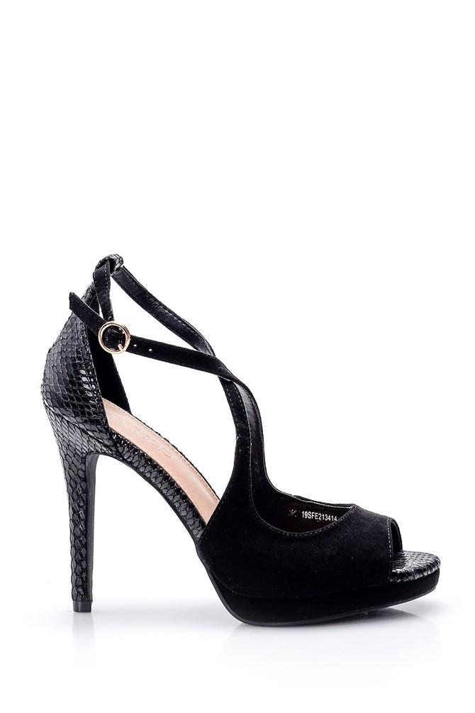5638018433 Kadın Yılan Derisi Detaylı Topuklu Ayakkabı