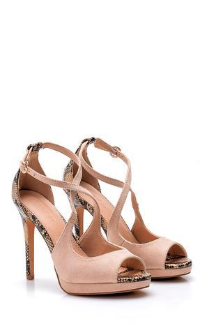 Kadın Yılan Derisi Detaylı Topuklu Ayakkabı