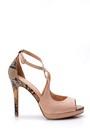 5638018441 Kadın Yılan Derisi Detaylı Topuklu Ayakkabı