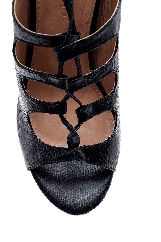 5638015712 Kadın Kroko Desenli Topuklu Terlik
