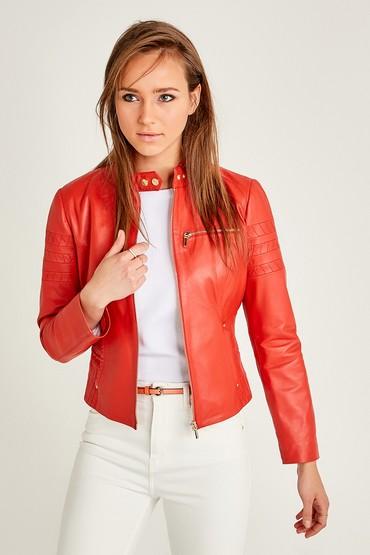 Kırmızı Nina Kadın Deri Ceket 5638054360