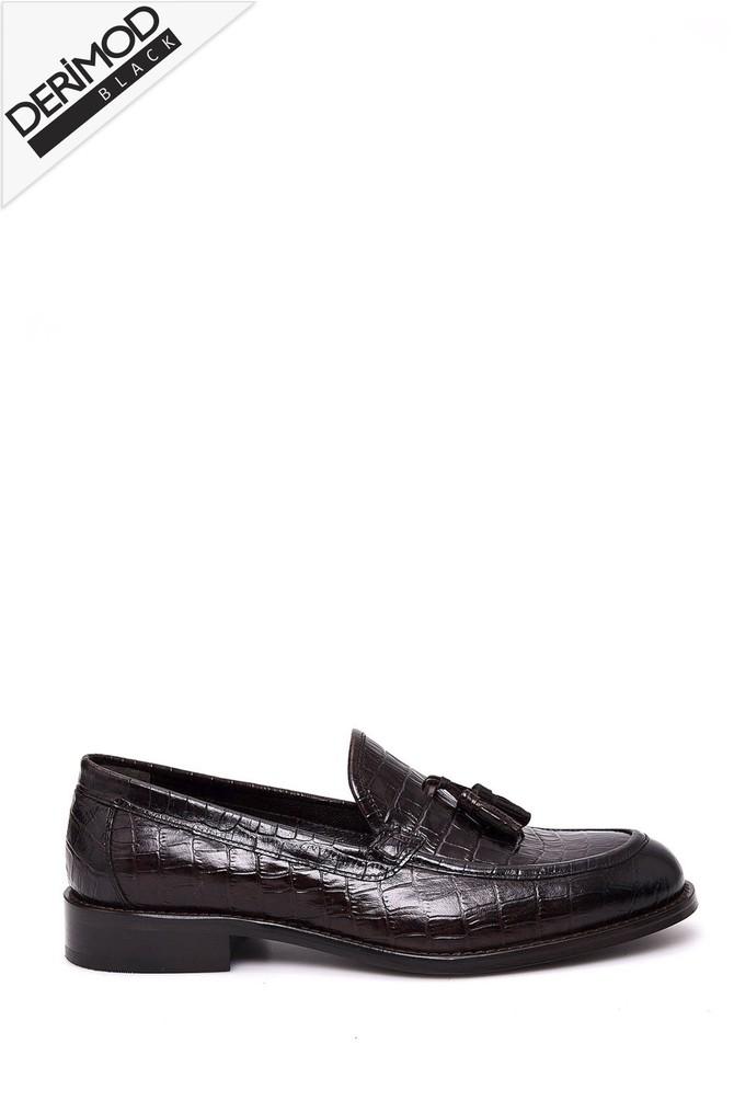 Kahverengi Erkek Kroko Desenli Deri Ayakkabı 5638026827