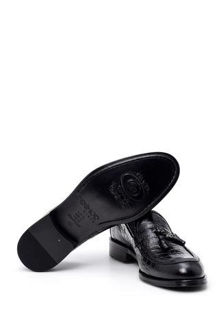 Erkek Kroko Desenli Deri Ayakkabı