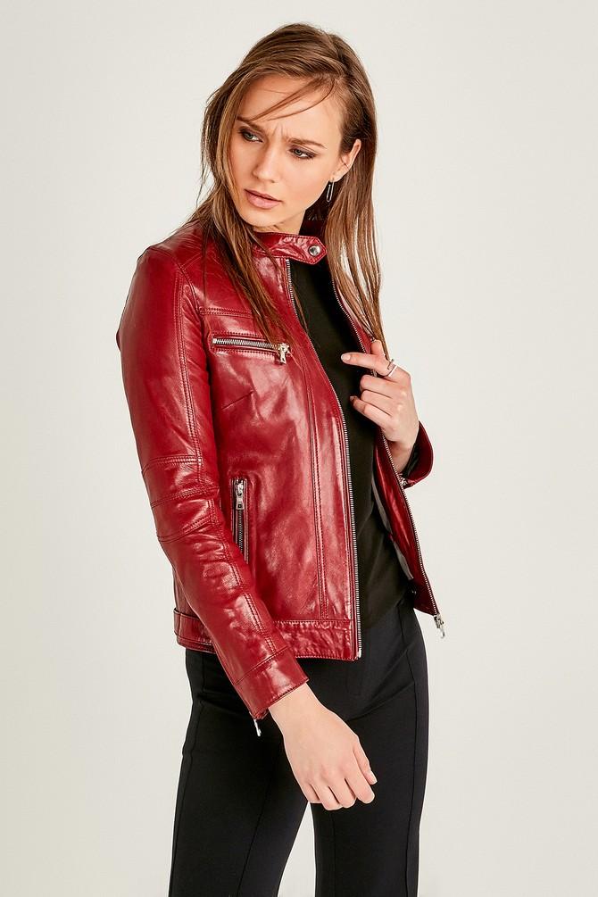 Kırmızı Mystery Kadın Deri Ceket 5638062196