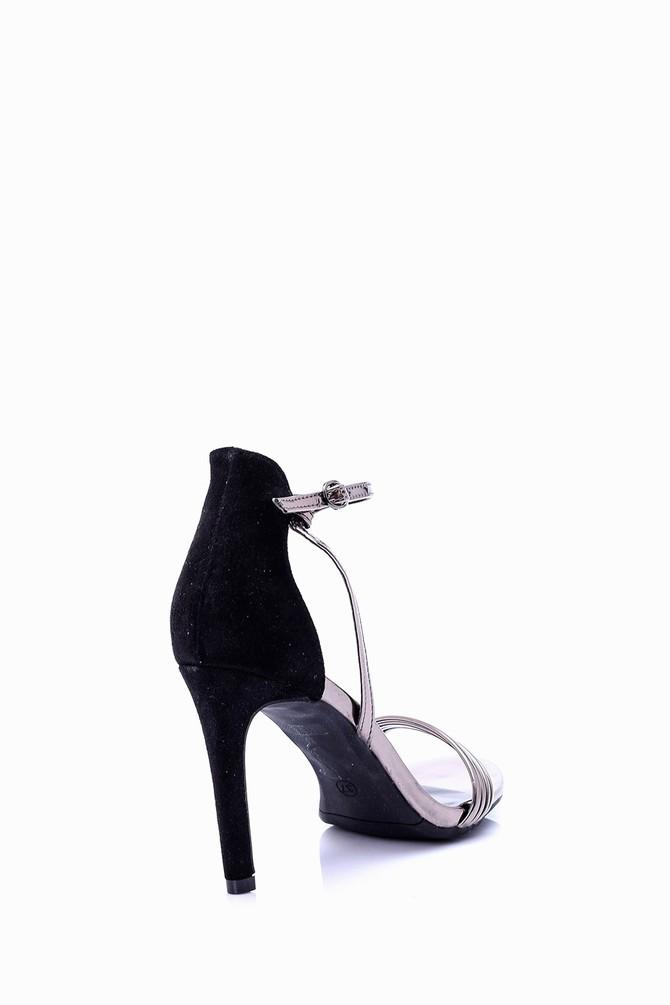 5638002284 Kadın Gümüş Detaylı Topuklu Ayakkabı