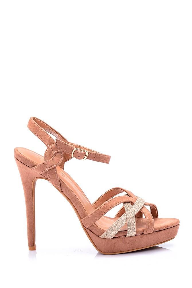 Bej Kadın Süet Topuklu Ayakkabı 5638019886
