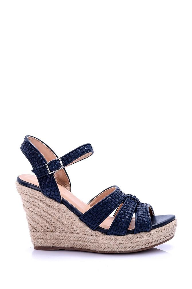 Lacivert Kadın Hasır Dolgu Topuklu Sandalet 5638015838