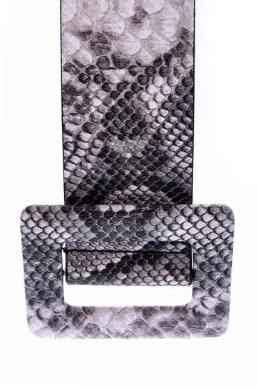 Siyah Kadın Kroko Desenli Kemer 5638062378