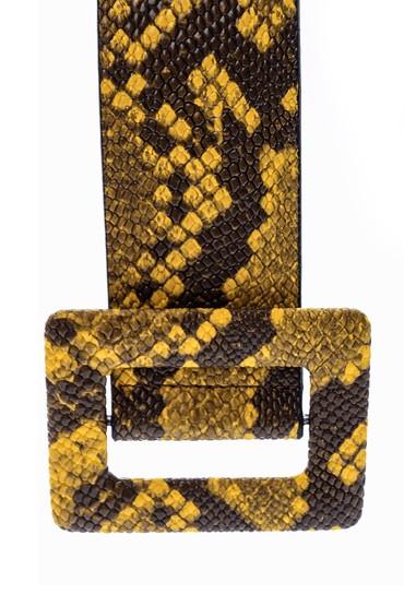 Sarı Kadın Yılan Derisi Desenli Kemer 5638062382