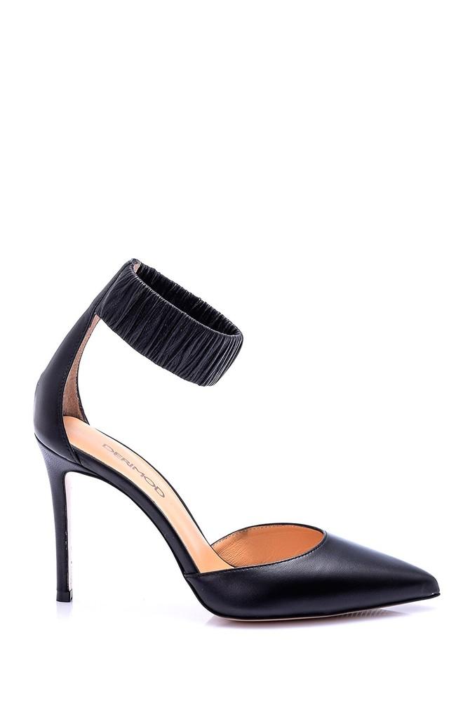 Siyah Kadın Deri Topuklu Ayakkabı 5638051301
