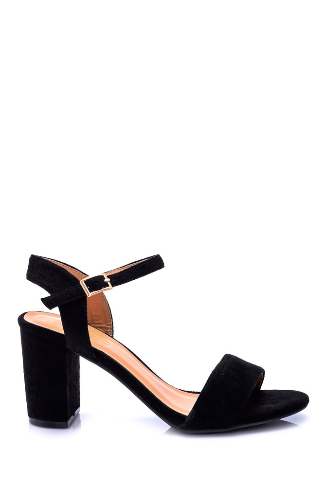 Siyah Kadın Süet Topuklu Ayakkabı 5638005765