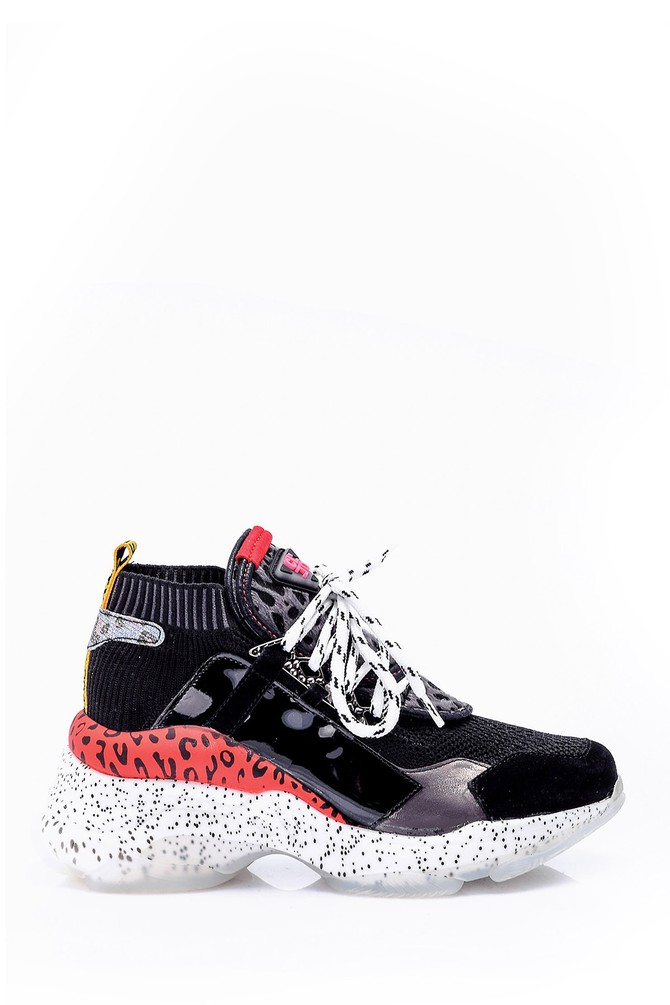 Siyah Kadın Leopar Detaylı Sneaker 5638066035