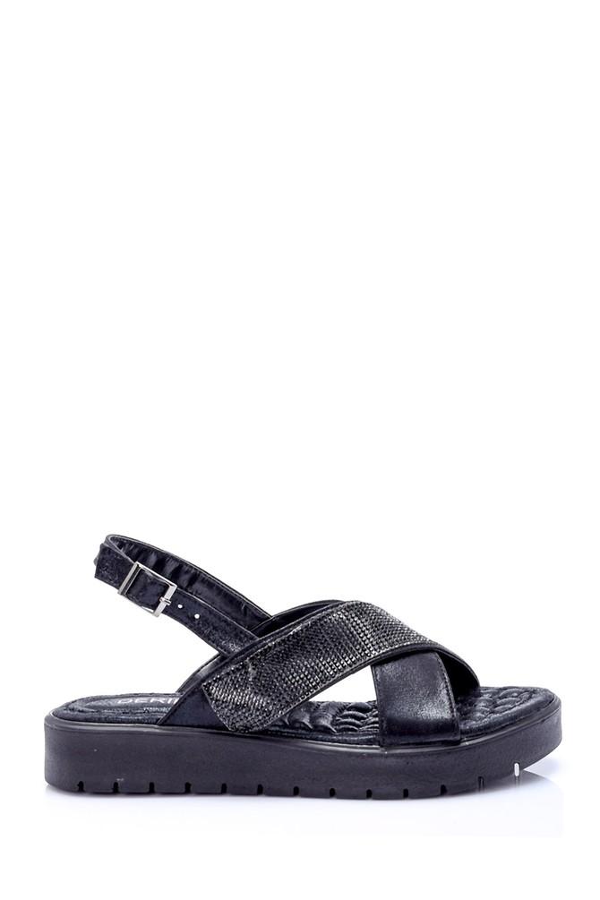Siyah Kadın Taşlı Sandalet 5638057937