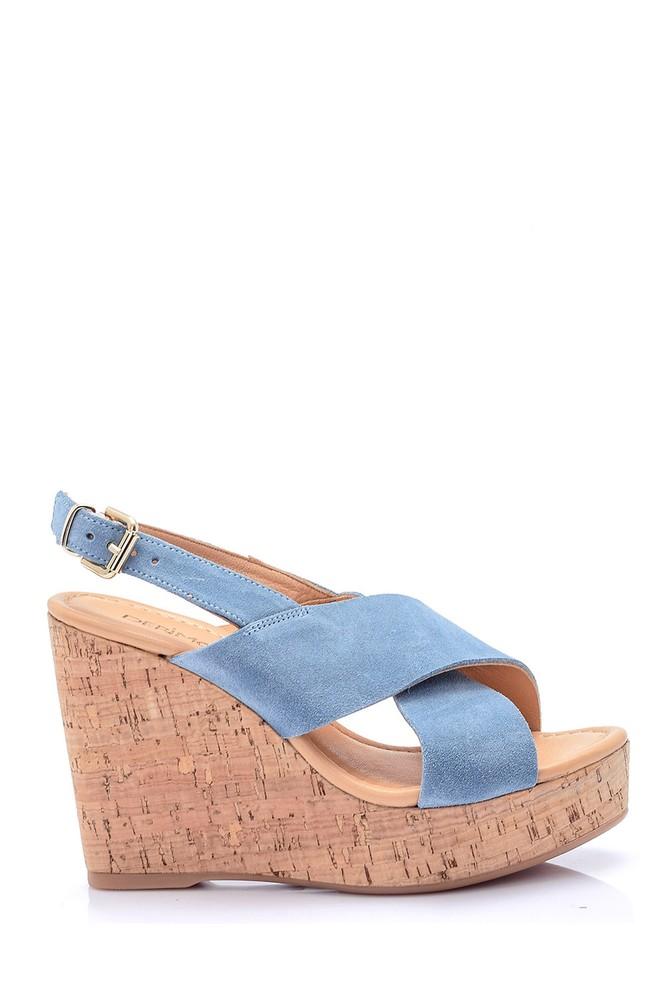 Mavi Kadın Dolgu Topuklu Süet Sandalet 5638039007