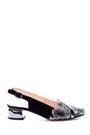 5638044004 Kadın Yılan Derisi Desenli Metal Topuk Detaylı Ayakkabı