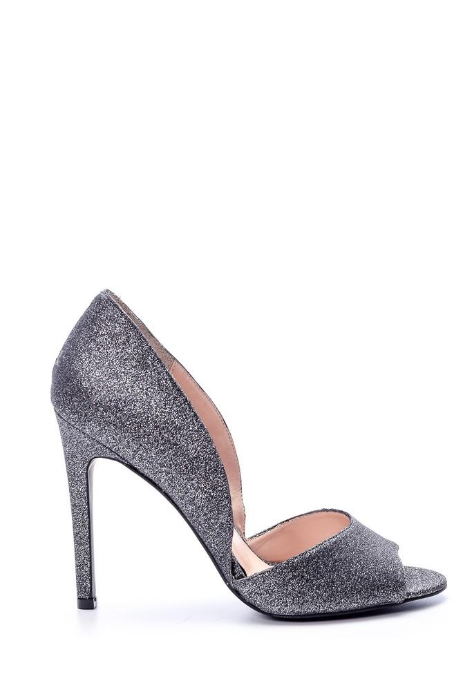 5638076131 Kadın Gümüş Topuklu Ayakkabı