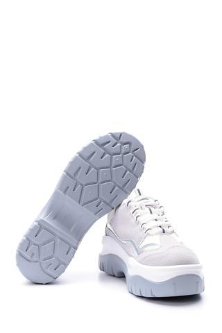 Kadın Gümüş Detaylı Süet Sneaker