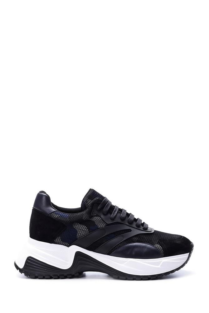 Siyah Erkek Yüksek Tabanlı Deri Sneaker 5638057423