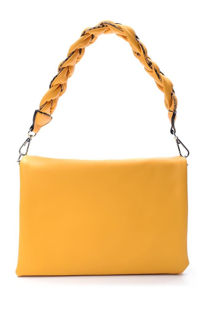 Sarı Kadın Örgü Saplı Omuz Çantası 5638030991