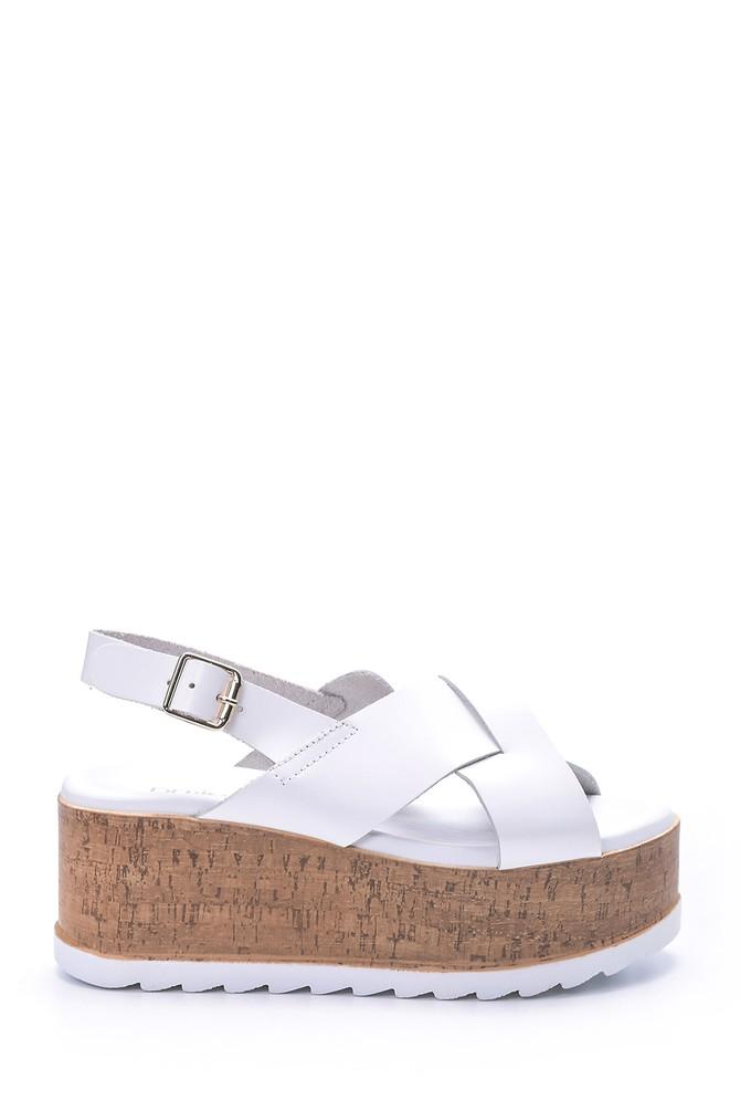 Beyaz Kadın Dolgu Topuklu Sandalet 5638066014
