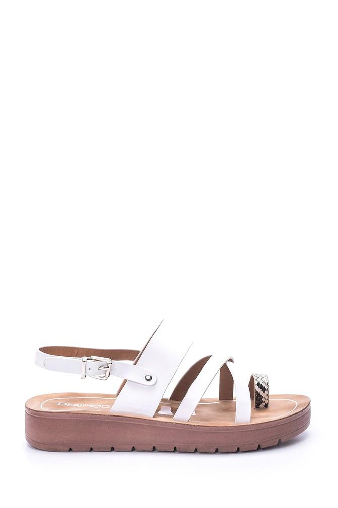 5638003721 Kadın Kroko Detaylı Sandalet