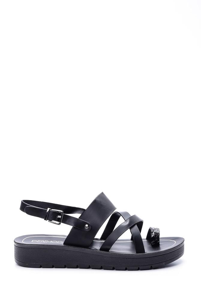 Siyah Kadın Kroko Detaylı Sandalet 5638003737