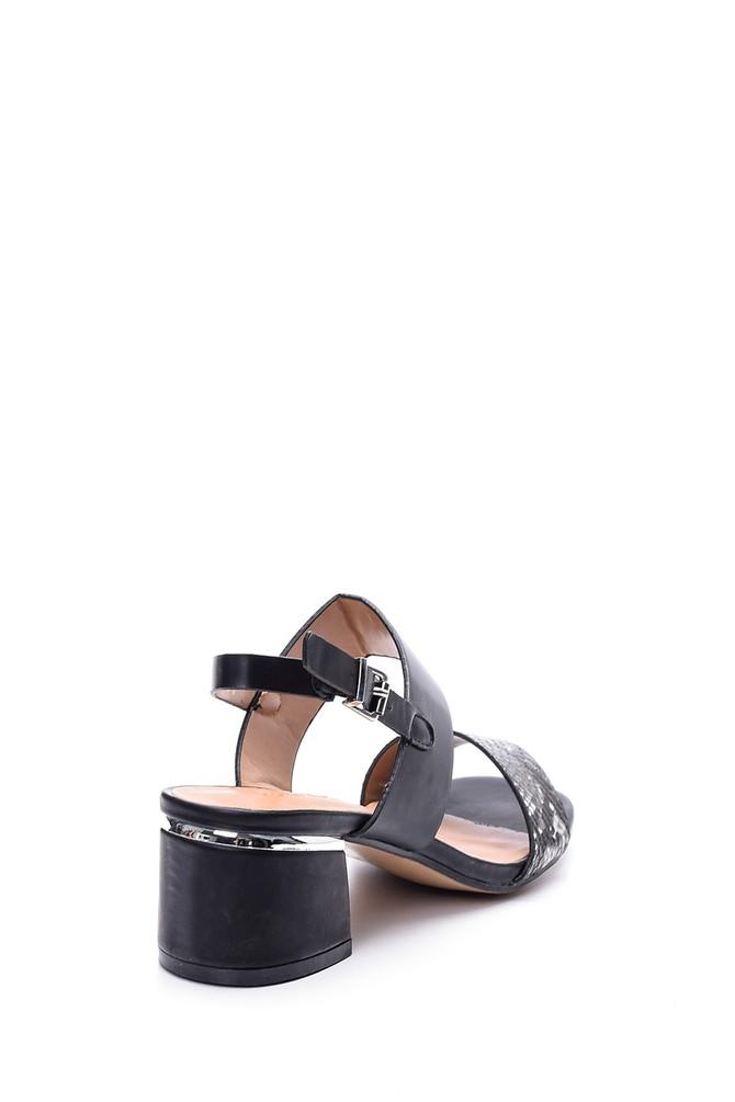 5638003873 Kadın Kroko Detaylı Topuklu Ayakkabı