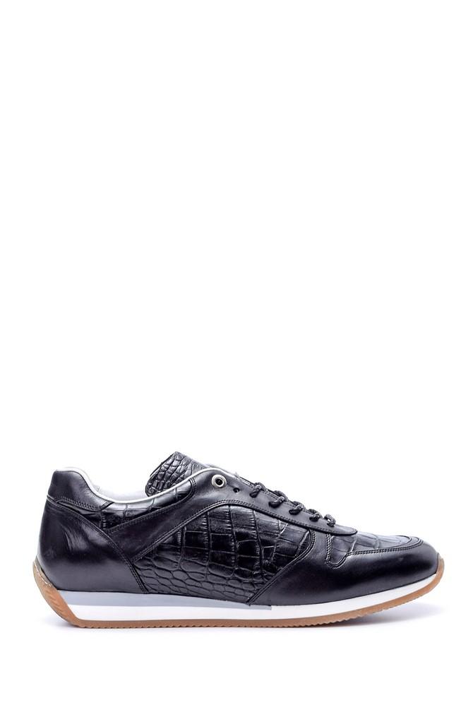 Siyah Erkek Kroko Detaylı Sneaker 5638050816