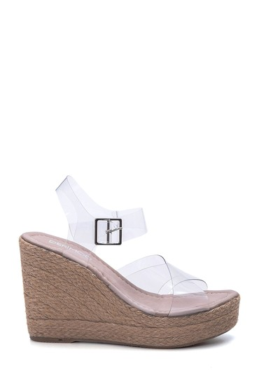 5638064988 Kadın Şeffaf Bantlı Dolgu Topuklu Sandalet