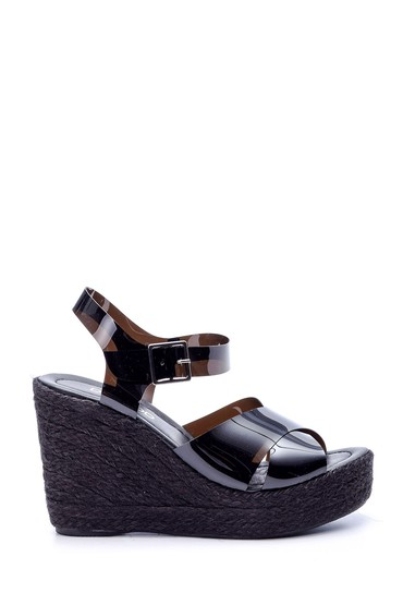 5638064990 Kadın Şeffaf Bantlı Dolgu Topuklu Sandalet