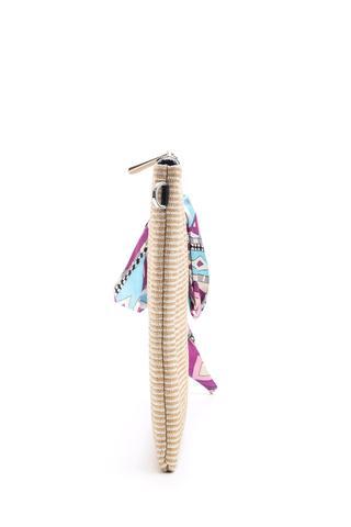 Kadın Fular Detaylı Hasır Portföy Çanta
