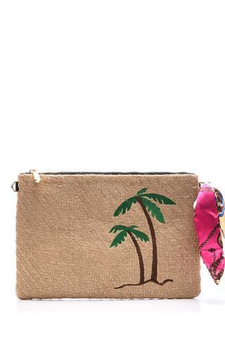 Kadın Palmiye Desenli Hasır Portföy Çanta