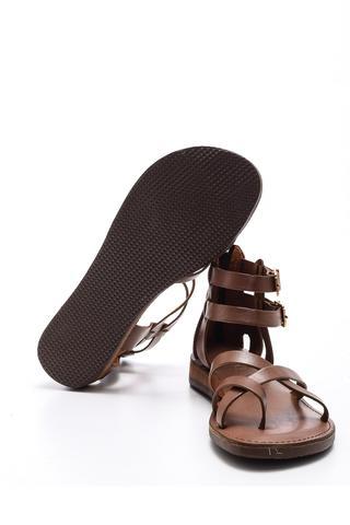 Kadın Bilekten Bağlamalı Deri Sandalet