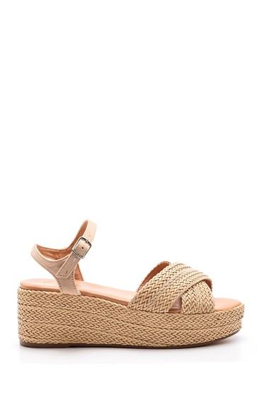 5638027529 Kadın Dolgu Topuklu Hasır Sandalet